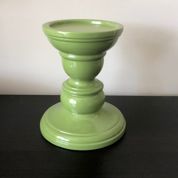 Pottery Barn Small Lacquer Pillar Holder, Green